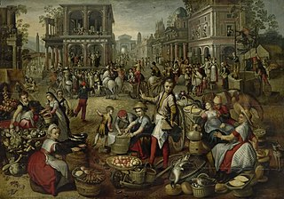 Marketplace with the flaggellation, the Ecce Homo and the bearing of the cross in the background
