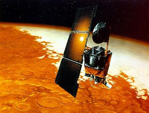 Mars Climate Orbiter über dem Mars (künstlerische Darstellung) image source