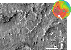 Martian impact crater Llanesco based on day THEMIS.png