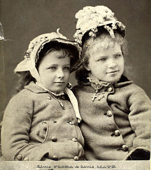 Maude Adams - Adams (left) and Flora Walsh in The Wandering Boys in San Francisco, 1880