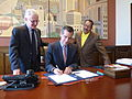 Mayor Eric Garcetti, beside Herb Wesson and Paul Krekorian, signing in a budget (14404687423).jpg