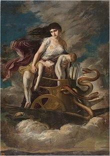 Medea, con los hijos muertos, huye de Corinto en un carro tirado por dragones (Museo del Prado) .jpg