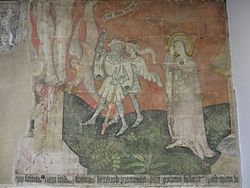 Mediaeval religious mural at the Coventry Charterhouse