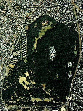 Meiji Shrine - An aerial photograph of Meiji Shrine and Yoyogi Park (1989)