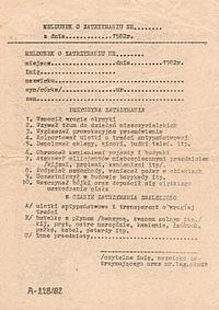 Meldunek o zatrzymaniu używany przez funkcjonariuszy Milicji Obywatelskiej w trakcie trwania stanu wojennego