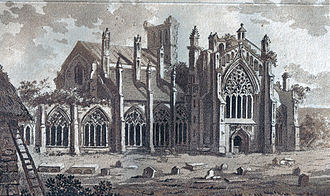 Melrose Abbey - Melrose Abbey in 1800 when part of the abbey was still in use as the parish church