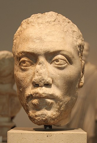 Memnon (mythology) - Roman bust of Memnon, sculpted circa 160 AD. Altes Museum, Berlin.