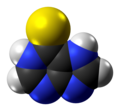 Mercaptopurine molecule or zwitterion spacefill from xtal.png