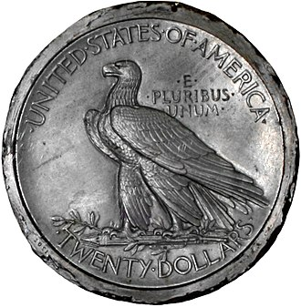 Indian Head eagle - A metal model for the double eagle by Saint-Gaudens; the design was adapted for the eagle