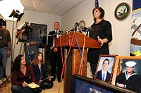 Michael A. Monsoor's sister Sara Monsoor speaks to the media.jpg