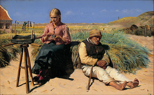 Michael Ancher - Figures in a landscape. Blind Kristian and Tine among the dunes - Google Art Project
