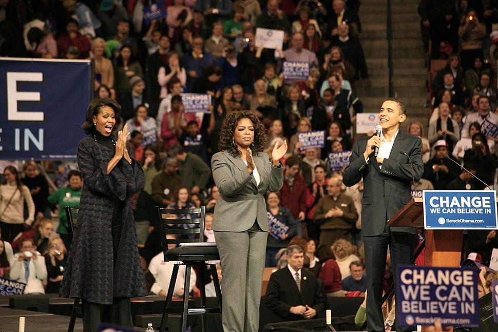Michelle, Oprah Winfrey and Barack Obama