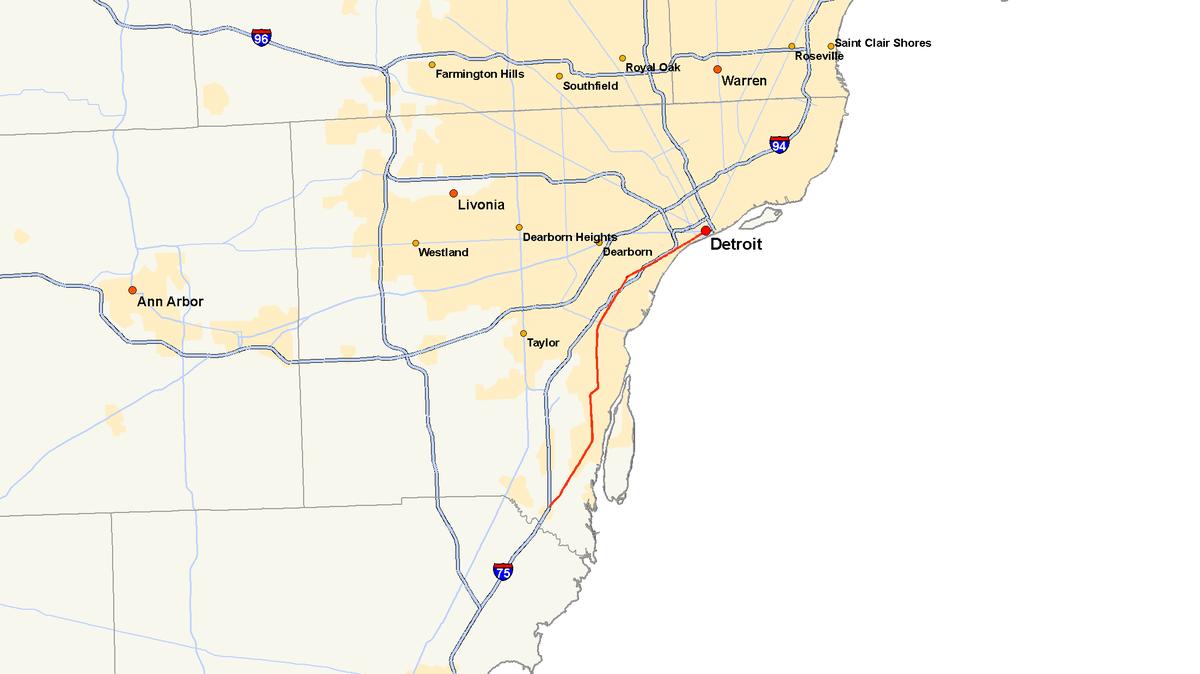 Metro Detroit Traffic Map.M 85 Michigan Highway Wikipedia
