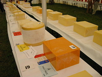 Cheddar cheese - Cheddar cheeses on display at the Mid Somerset Show