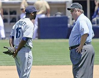 Milton Bradley (baseball) - Bradley speaking to umpire Joe West