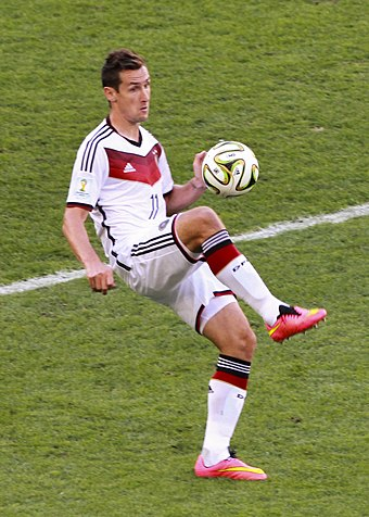 Miroslav Klose scored a record 16 goals across four World Cups. Miroslav Klose 2014.jpg