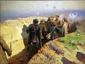 Battle of Tsaritsyn - Image: Mitrophan Grekov 33 Stalin, Voroshilov and Shchadenko in the trenches Tsaritsyn