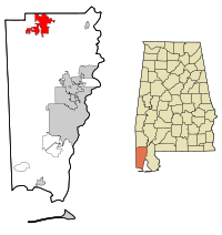 Mobile County Alabama Incorporated and Unincorporated areas Citronelle Highlighted.svg