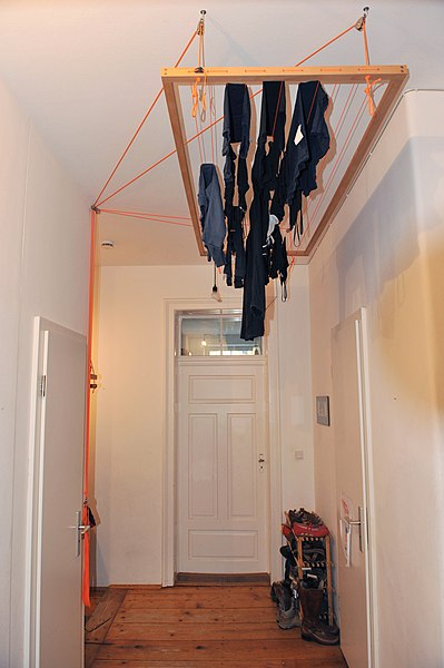 File:Modern hanging clothes horse with pulley system.jpg