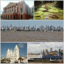 Tap row left: Theatro da Paz an Vitória Régia, in Paraense Emílio Goeldi Museum.  Middle row: The ceety o Belem seen frae the River Guama.  Bottom row left: Cathedral o Sé an Ver-o-Peso market.