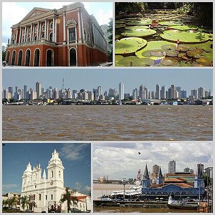 Do topo, em sentido horário: Teatro da Paz; plantas vitória-régia no Museu Paraense Emílio Goeldi; vista da cidade; Mercado Ver-o-Peso e Catedral Metropolitana de Belém.