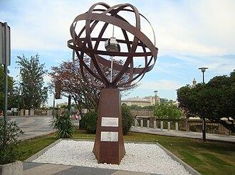 Los Remedios - Sculpture to Elcano in the Plaza de Cuba near the Guadalquivir.