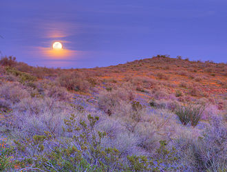 San Carlos Apache Indian Reservation - Moonrise over San Carlos Apache Indian Reservation