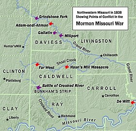 A map of Northwestern Missouri in 1838, showing points of conflict in the Mormon War.