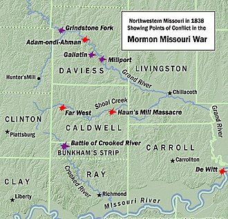 1838 Mormon War -  A map of Northwestern Missouri in 1838, showing points of conflict in the Mormon War.