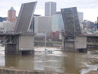 Morrison Bridge - The opened Morrison Bridge, photographed from East Portland