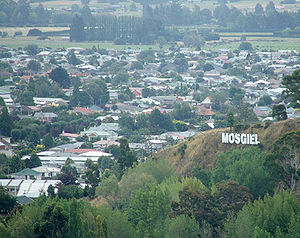 "Mosgiel - Mosgiel and ""Mollywood"" sign"