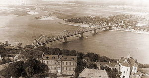 Bridges in Kiev - Yevheniya Bosh Bridge. Photo of the 1930s.
