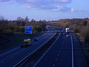 M11 motorway - The M11 north of Cambridge