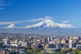 Mount Ararat - Image: Mount Ararat and the Yerevan skyline in spring (50mm)