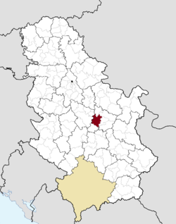 Location of Jagodina within Serbia