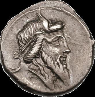 Mutunus Tutunus - A denarius issued by Quintus Titius, thought to depict a bearded Mutunus Tutunus
