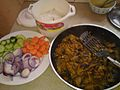 My Meal in Aus- Microwave cooked Sona Masuri, Veg Salad and EGGPLANT masala.jpg