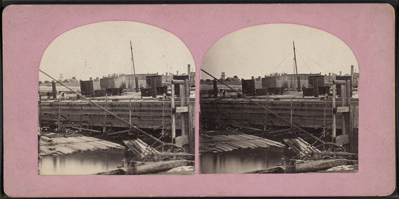 File:N.Y. Caisson E.R. Bridge with iron lining and shafts in place, but roof timbers not on, from Robert N. Dennis collection of stereoscopic views.jpg