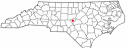 Location of Sanford, North Carolina