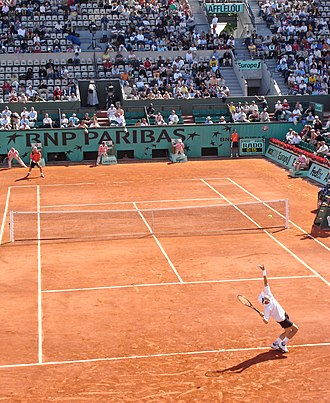 Clay court - Court Philippe Chatrier at Stade Roland Garros in Paris during the 2006 French Open.