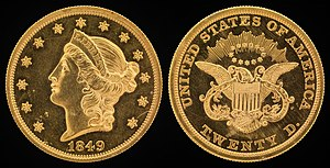 Double eagle - The 1849 liberty head design by James B. Longacre