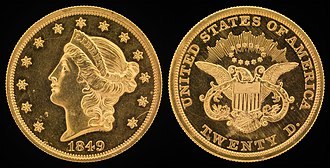 Liberty Head double eagle - Image: NNC US 1849 G$20 Liberty Head (Twenty D.)