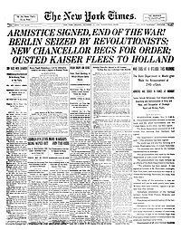 Front page of the New York Times on Armistice ...