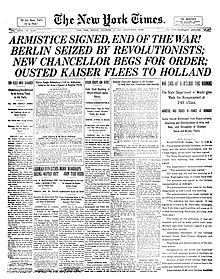 newspaper  front page of the new york times on armistice day 11 1918