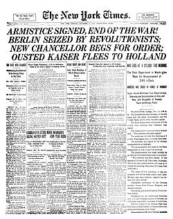 Armistice Day commemoration on November 11 of the armistice signed between the Allies of World War I and Germany in 1918