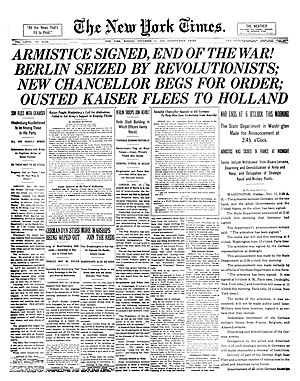 Headline - The New York Times uses an unusually large headline to announce the Armistice with Germany at the end of World War I.