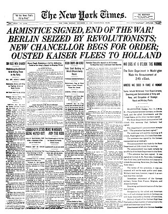 Armistice of 11 November 1918 - Front page of The New York Times on 11 November 1918