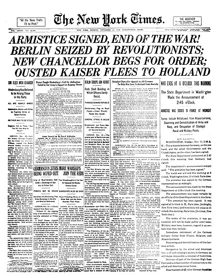 November 11: Front page of The New York Times on Armistice Day NYTimes-Page1-11-11-1918.jpg