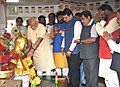 Narendra Modi paying respects to Dr. Babasaheb Ambedkar, at Chaitya Bhoomi, in Mumbai. The Chief Minister of Maharashtra, Shri Devendra Fadnavis, the Union Minister for Road Transport & Highways and Shipping.jpg