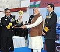 Narendra Modi presented Innovation trophies to awardees, during the 'At Home' reception, organised by the Chief of Naval Staff, Admiral R.K. Dhowan, on the occasion of Navy Day, in New Delhi on December 04, 2015.jpg